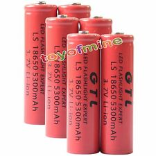 6x 3.7V 18650 GTL Li-ion 5300mAh Red Rechargeable Battery for LED Torch
