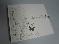 SILVER BUTTERFLIES GUEST BOOK-WEDDING NAMING CEREMONY CHRISTENING 21ST BIRTHDAY