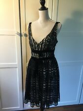 Plenty by Tracy Reese Black & White Lace velvet trim Dress Size 8