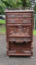 ANTIQUE CONTINENTAL HEAILY CARVED  3 DRAWERS SECRETARY CHEST,CABINET c. 1880