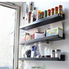 "22"" Long Wall Mount Spice Rack Jar Storage Wood Shelf Black Kitchen Organizer"