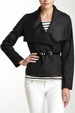 NWT $150 Kenneth Cole New York Big Collar Vegan Suede Jacket Black Polka Dot L