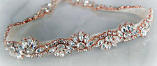 BETHAN ROSE GOLD - Rhinestone Flower Diamante Bridal Sash Wedding Dress Belt