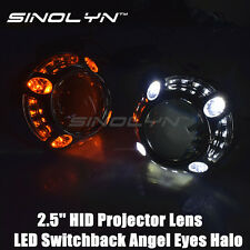 2.5 HID Projector Lens H1 With LED Angel Eyes Halo Switchback DRL Turn Signals