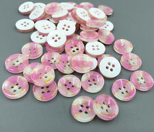 100pcs Pink Plaid Resin Buttons Round 4-holes Sewing Scrapbooking Craft 13mm