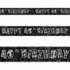 12ft Happy 40th Birthday Black Sparkle Prismatic Party Foil Banner Decoration