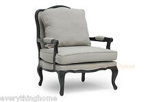 CLASSIC ANTIQUED FRENCH ACCENT LOUNGE CHAIR ANTOINETTE SCROLLED TRIM LINEN GRAY