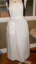 CIVIL WAR DRESS VICTORIAN COLONIAL LADY'S IVORY COTTON PINNER~BIB APRON-PLUS SZ