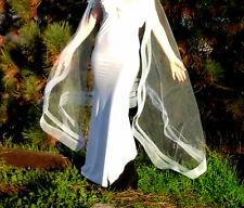 drape draped veil cape wrap Double Horsehair boho wedding modern white ivory