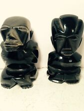 Hand Carved Sheen Obsidian Stone Statue Figurine Black Mayan Inca Aztec