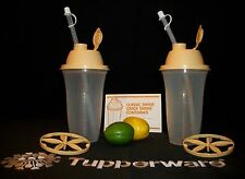 Tupperware 2 GOLDEN Wheat 16 oz Quick Shake smoothie blender mixer shakers ~NLA