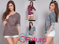 Women's Casual Top With Pocket Scoop Neck 3/4 Sleeve Tunic Size 8-12 FT420