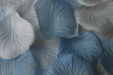 100 x WHITE AND BABY BLUE SILK ROSE PETALS CHRISTENING CONFETTI TABLE DECORATION