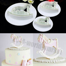 3pcs Wooden Horse Fondant Cake Decorating Cookie Cutters Tools Mold #T