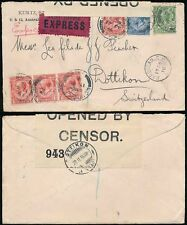 GB POST OFFICE EXPRESS DELIVERY 1916 WW1 CENSORED to SWISS..BARBICAN to DOTTIKON