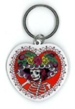 FLOWER HAT SUGAR SKULL * DAY OF THE DEAD * METAL KEYCHAIN NEW BY SUNNY BUICK