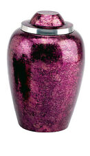 Burgundy Adult Alloy Funeral Cremation Urn w. Velvet Pouch, Other Sizes Avail.