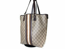 Auth GUCCI GG Pattern PVC Canvas Leather Browns Tote Bag, Shoulder Bag GT0994