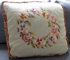 "Grande ANTICO ARAZZO Cuscino hand made NEEDLEPOINT RICAMO pansies 22 ""X22"""