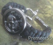 NEW 3D FLIP OPEN SKULL WATCH W/ BLACK Paracord Band - Rock * Goth * Biker