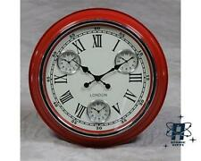 RETRO VINTAGE LONDON STYLE MULTI DIAL WALL CLOCK RED WHITE FACE