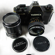 VINTAGE YASHICA ELECTRO AX 35mm Camera w/ 105mm Pentax & 5mm Lenses + More