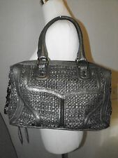 Rebecca Minkoff Mab Bombe Gray Metallic Leather Tweed Satchel Shoulder Bag