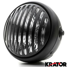 "7"" Black Vintage Style Grill Prison Headlight For Vespa GTS GTV 250 300"