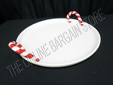 Pottery Barn Peppermint Tray Large Christmas Decor Platter Candy Cane Round