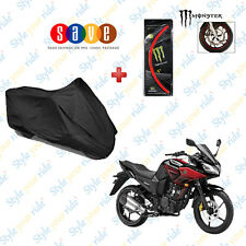 Bike Body Cover(Black) & Monster Rim Sticker Red For Yamaha Fazer