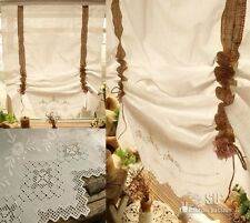 ANTIQUE LINEN French Burlap Curtain Balloon White - HAND Embroidered  RUFFLES