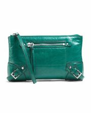 MICHAEL KORS FALLON AQUA GREEN LARGE LEATHER,ZIP,SILVER ,CLUTCH,WRISTLET HANDBAG