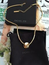 "Rachel Zoe crystals  Circle Pendant  Necklace 18"" 14k Gold Plated NEW$145"