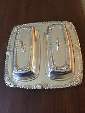 Vintage ROSB Silver Plate Dual Butter Dish With Lids