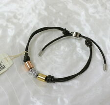 Fossil Brand Pave Multi Color Barrel Leather Slider Bracelet $34 JA6627P