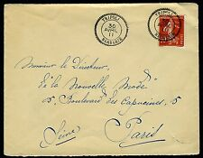 FRENCH PO IN TRIPOLI-1911 Cover to Paris franked with 10c Red 'Sower' cancelled