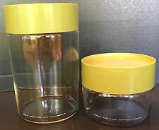 LOT of 2 VINTAGE Corning Ware Pyrex Green CANISTERS w/Lids STACKABLE