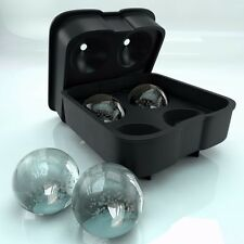 Round Ice Ball Maker Silicone Tray FOUR Whiskey Cube Molds Sphere Cocktails