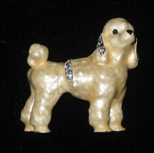 White POODLE Enamel Pin Crystal Accents NEW Brooch Gift Boxed Dog