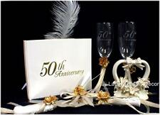 Wedding Cake Topper 50th Anniversary Glasses Knife server  Guest book  pen LOT