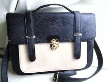 GEORGE BLACK AND CREAM LADIES SATCHEL BAG HANDBAG