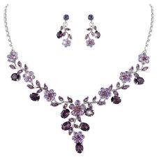Parure de bijoux rhodiée femme soir fleurs cristal mauve & violet mariage mariée