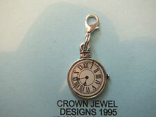 HANDMADE,TIBETAN SILVER POCKET WATCH CHARM FREE ORGANZA GIFT BAG CLOCK RETRO