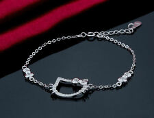 925 Sterling Silver CZ Hello Kitty Bracelet