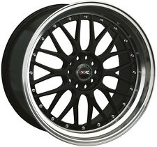 XXR 521 17X7 WHEELS 4X100/114.3 +38 BLACK W/MACHINED LIP RIM (SET OF 4)