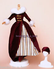 1800's Maroon European Winter Ice Skating Outfit Velvet Fashion for Barbie Doll