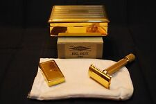VINTAGE GILLETTE 1930s 24K GOLD BIG BOY DELUXE SET NEW IN BOX