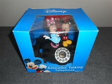 RARE DISNEY MICKEY & MINNIE TALKING ANIMATED CORDED PHONE TELEPHONE WITH BOX