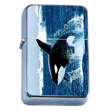 Windproof Refillable Flip Top Oil Lighter Whale D2 Killer Marine Animal Shark