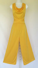 VINTAGE 1960s MOD JERAND's JERSEY GIRL YELLOW PALAZZO PANTS JUMPSUIT POLY BELT